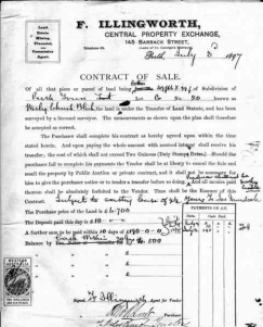 Contract of sale, front block of land 1897.