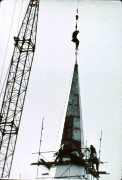 New copper cone to Wesley spire 1968